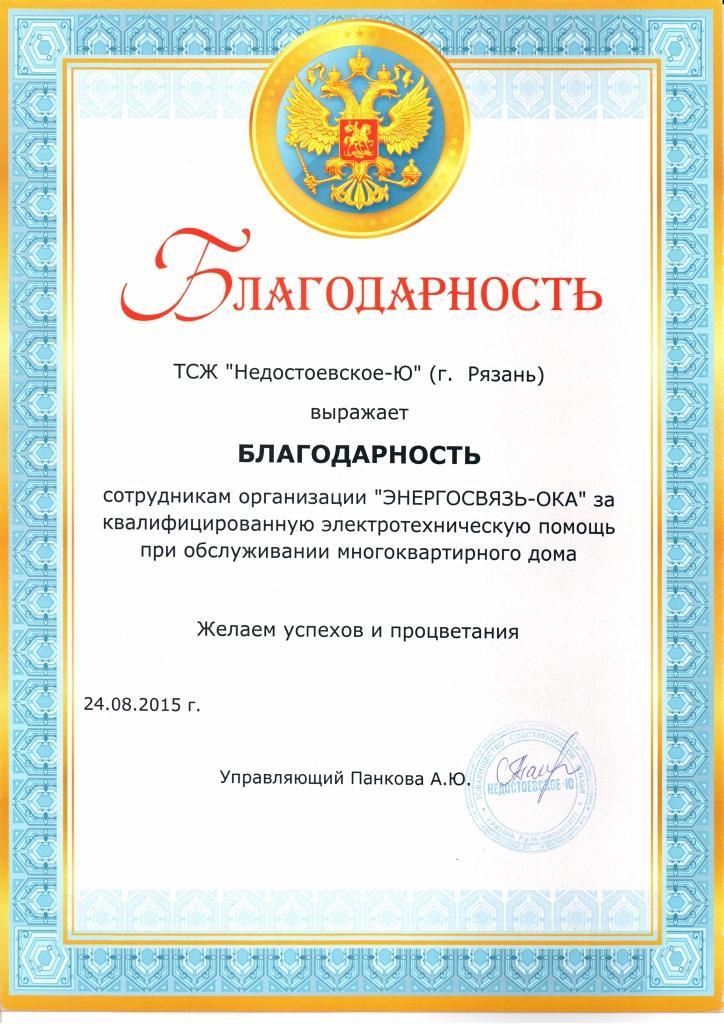 Благодарность ТСЖ Недостоеское-Ю Рязани